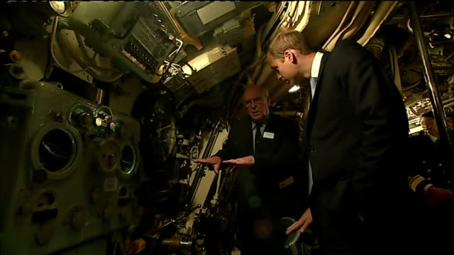 interior shots prince william duke of cambridge being show around hms alliance whilst on visit to royal navy submarine museum on may 12 2014 in... - gosport stock videos & royalty-free footage