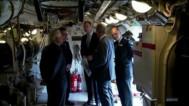 interior shots prince william duke of cambridge being shown around submarine hms alliance on may 12 2014 in gosport england - gosport stock videos & royalty-free footage