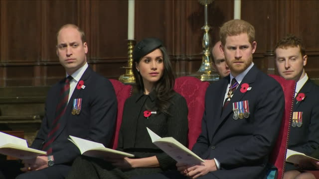 interior shots prince william duke of cambridge, prince harry and meghan markle at westminster abbey anzac day service on 25 april 2018 in london,... - anzac day stock videos & royalty-free footage