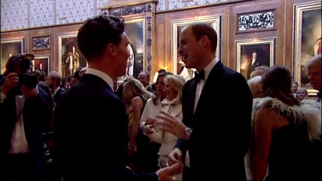 interior shots prince william, duke of cambridge talking with actor benedict cumberbatch at gala dinner for royal marsden hospital. on may 13, 2014... - benedict cumberbatch stock videos & royalty-free footage