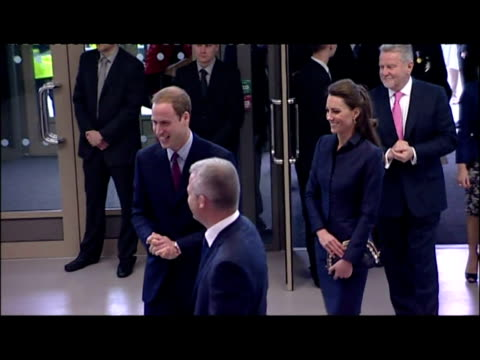 interior shots prince william & kate middleton enter the darwen aldridge community academy & greet a group of waiting students before embarking on... - 40 seconds or greater stock videos & royalty-free footage