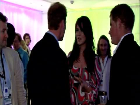 Interior shots Prince William Prince Harry chatting to Joss Stone Natasha Beddingfield Tom Jones Concert for Diana Princes Meet Celebrities on July...