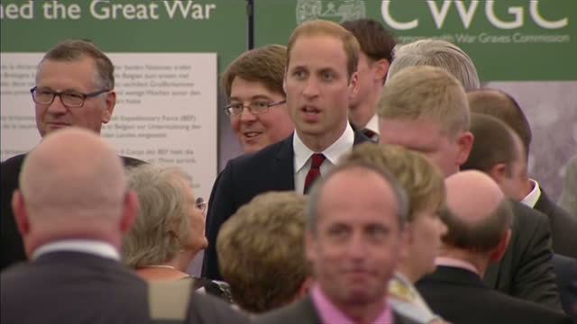 interior shots prince william talking to guests at wwi commemorative event on august 04, 2014 in mons, belgium. - 一百週年紀念 個影片檔及 b 捲影像