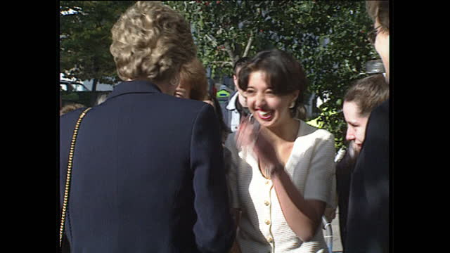 interior shots princess diana leaves centrepoint house london greets and talks to a group of women members of the public on 19th october 1993 - 1993 stock videos & royalty-free footage