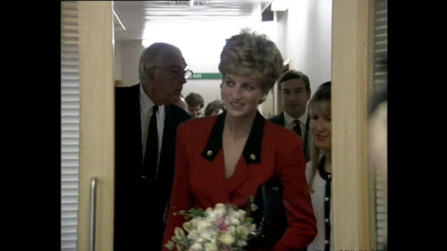 interior shots princess diana visiting royal marsden hospital meeting patients at hospital on october 08 1992 in london england - british royalty stock videos and b-roll footage