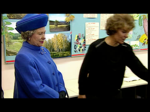 interior shots queen arrives in classroom, chats to children and teacher. exterior shots queen elizabeth ii on walkabout, meeting and greeting... - russia stock videos & royalty-free footage