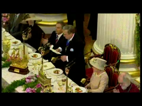 interior shots queen elizabeth ii 80th birthday dinner at mansion house. interior speech the lord mayor of london david brewer. interior shots guests... - queen's birthday stock videos & royalty-free footage