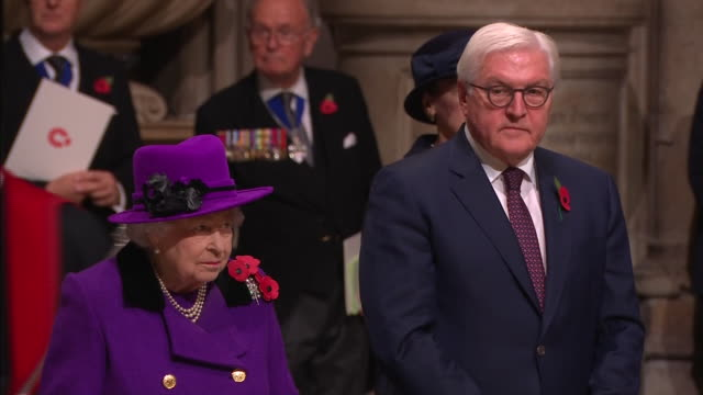 interior shots queen elizabeth ii and german president dr frankwalter steinmeier stand in front of the grave of the unknown warrior as they attend a... - armistice stock videos and b-roll footage