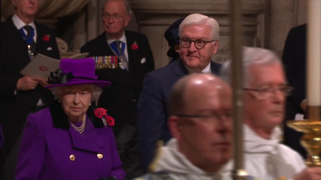 interior shots queen elizabeth ii and german president dr frankwalter steinmeier attend a service marking the centenary of ww1 armistice at... - armistice stock videos and b-roll footage