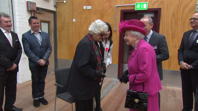 interior shots queen elizabeth ii and prince philip meet dame joan plowright, baroness olivier dbe. queen elizabeth ii visits the national theatre on... - baroness stock videos & royalty-free footage