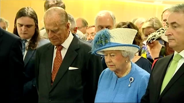 interior shots queen elizabeth ii and prince philip taking part in a minutes silence to remember the victims of the tunisia hotel terror attack... - elizabeth i of england stock videos & royalty-free footage