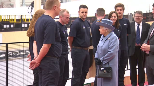 interior shots queen elizabeth ii during a visit to the siemens gamesa renewable energy wind turbine blade factory in hull while visiting the city to... - hull stock videos & royalty-free footage