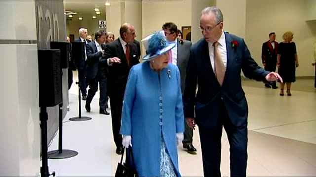 interior shots queen elizabeth ii on visit to south glasgow university hospital walks to stage talking with andrew robertson nhs greater glasgow and... - elizabeth i of england stock videos & royalty-free footage