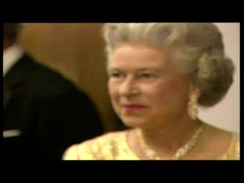 interior shots queen elizabeth ii shaking hands with people from the arts in line up including charles dance richard griffiths diana rigg prince... - diana rigg stock videos & royalty-free footage