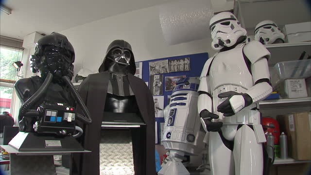interior shots replica dark lord imperial pilot stormtrooper outfits masks made by replica star wars dark lord imperial pilot props made by... - shepperton studios stock videos & royalty-free footage