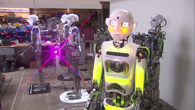 Interior shots RoboThespian Robot performing at Engineered Arts Ltd on September 03 2015 in Penryn England