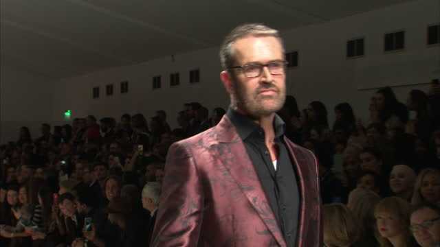 interior shots rupert everett and caroline flack on runway, catwalk at fashion for relief charity fashion show on february 20, 2015 in london,... - ファッションフォーリリーフ点の映像素材/bロール
