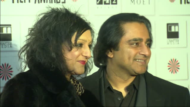 interior shots sanjeev bhaskar & meera syal posing for press at the british independent film awards. british independent film awards - red carpet at... - meera syal stock videos & royalty-free footage
