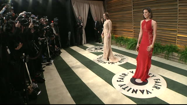 interior shots sarah poulson posing on red carpet aubrey plaza posing for photographers on march 02 2014 in los angeles california - aubrey plaza stock videos and b-roll footage