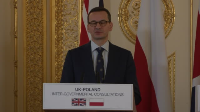 interior shots showing polish prime minister mateusz morawiecki during joint press conference with uk prime minister theresa may following their... - prime minister of the united kingdom stock videos and b-roll footage