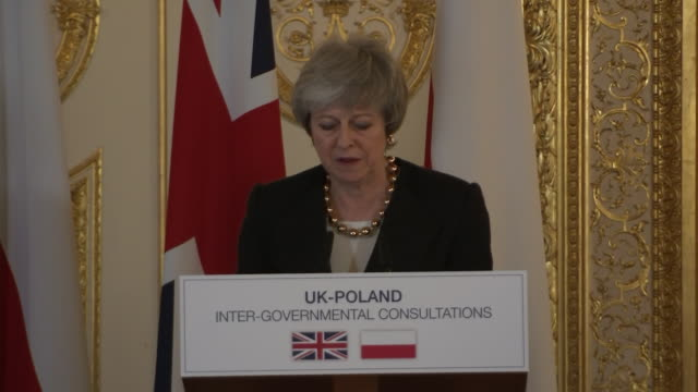 interior shots showing uk prime minister theresa may during joint press conference with polish prime minister mateusz morawiecki following their... - prime minister of the united kingdom stock videos and b-roll footage