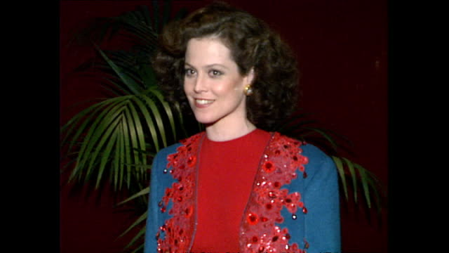 Interior shots Sigourney Weaver poses for press on January 24 1989 in London United Kingdom