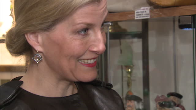 interior shots sophie the countess of wessex at opening ceremony of geranium shop on march 15 2016 in london england - visual impairment bildbanksvideor och videomaterial från bakom kulisserna