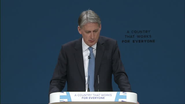 interior shots speech philip hammond mp uk chancellor regarding referendum result restoring control no ifs no buts no second referendum we are... - 2016 european union referendum stock videos and b-roll footage