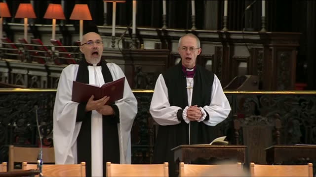 interior shots st paul's cathedral dome & justin welby singing hymn justin welby sworn in as 105th archbishop of canterbury at st paul's cathedral on... - archbishop of canterbury stock videos & royalty-free footage