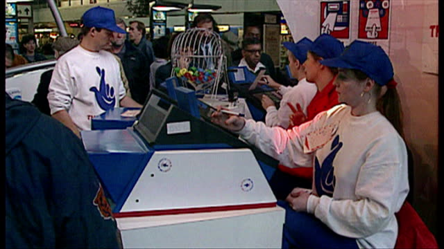 Interior shots stall for selling National Lottery tickets in the main foyer of Euston Station on November 8 1994 in London England