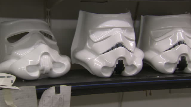 interior shots star wars stormtrooper masks and body armour made from the original moulds used to produce stormtrooper outfits for the 1977 film star... - shepperton studios stock videos & royalty-free footage