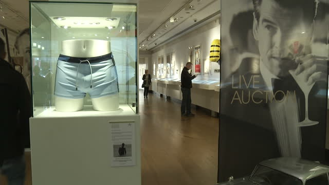 interior shots swimming trunks worn by daniel craig in casino royale in display cabinet interior shot model of aston martin db5 interior shots... - swimming trunks stock videos & royalty-free footage
