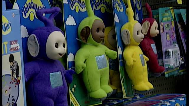 interior shots teletubbies dolls the 1997 christmas craze toy on display in toy shop on november 25 1997 in london england - toy stock videos & royalty-free footage