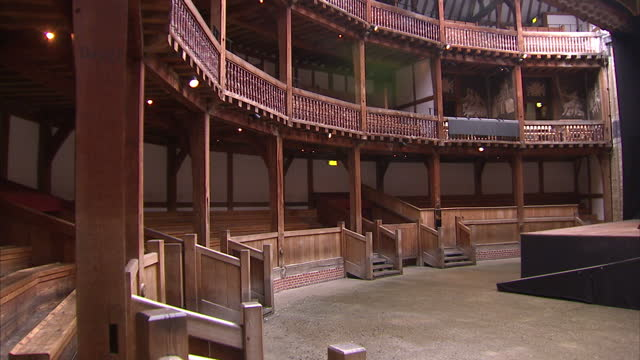 Interior shots The Globe Theatre with empty yard and stalls on May 11 2014 in London England