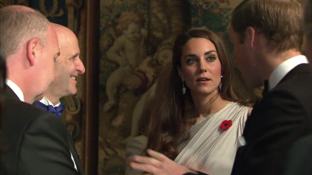 interior shots the prince william catherine duchess of cambridge in evening wear at national memorial arboretum gala event meeting at st james'... - 公爵点の映像素材/bロール