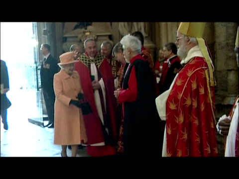 interior shots the queen enters westminster abbey & greets waiting members of the general synod including the archbishop of canterbury, dr rowan... - synod stock videos & royalty-free footage