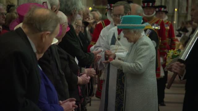 interior shots the queen handing out royal maundy money at service in york minster. interior shots the queen, prince philip & princess beatrice walk... - påsk bildbanksvideor och videomaterial från bakom kulisserna