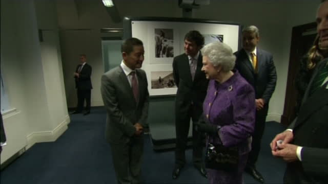 interior shots the queen meeting guests including nepalese sherpa mountain climber jamling norgay, son of tenzing norgay. the queens visit to the... - tenzing norgay stock videos & royalty-free footage