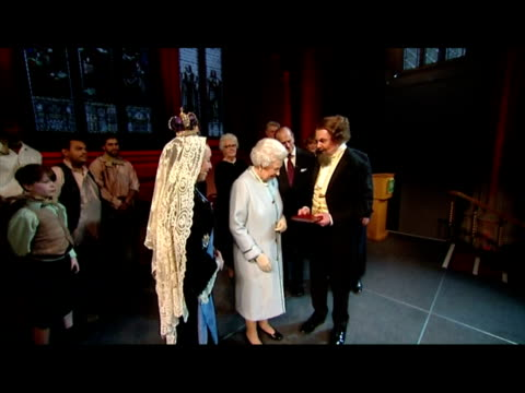 interior shots the queen & prince philip meet & chat with actors including eddie redmayne after a performance of a charles dicken's work at the... - charles dickens stock videos & royalty-free footage