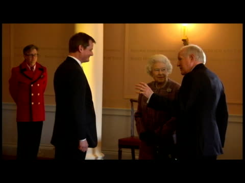 interior shots the queen prince philip meet chat with various people inside kensington palace after its refurbishment the queen reopens kensington... - kensington palace video stock e b–roll