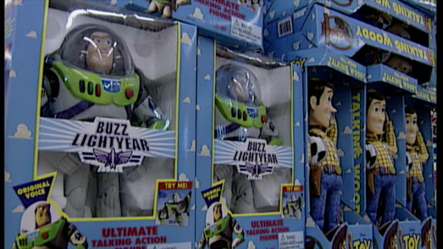 interior shots toy story buzz lightyear and woody toys in boxes on display in toy shop on november 25 1997 in london england - collection stock videos & royalty-free footage