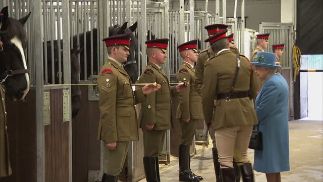Interior shots Troopers of the Life Guards and The Blues and Royals stood in stables Queen speaking to soldiers