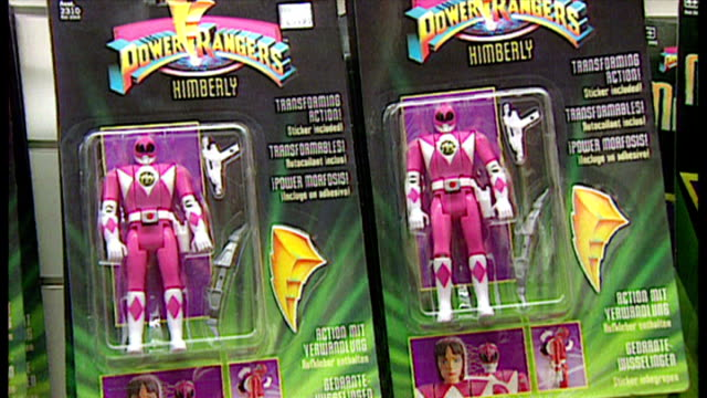 interior shots various action figures in packaging on display in toy shop includes earthworm jim batman and power rangers figures on november 16 1996... - toy stock videos & royalty-free footage