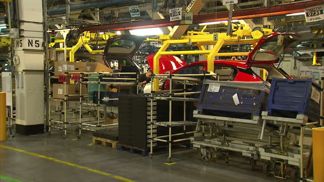 interior shots vauxhall motors cars plant production line on march 10, 2016 in ellesmere port, england. - car plant stock videos & royalty-free footage