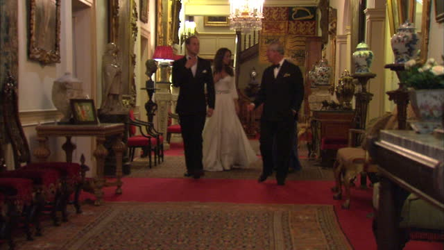 Interior shots William Catherine Charles Camilla departing Clarence House for evening reception At Buckingham Palace Exterior shots William Catherine...
