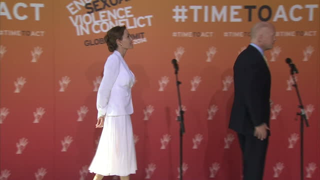 Interior shots William Hague British Foreign Secretary Angelina Jolie Actress and UN envoy arrive for global summit on rape and sexual violence in...