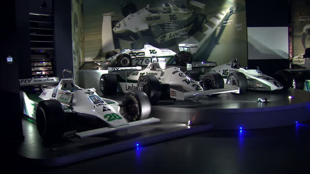 interior shots williams grand prix formula one race cars in museum at the williams conference centre home to the largest private collection of... - sports car stock videos & royalty-free footage
