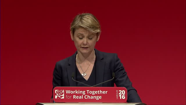 Interior shots Yvette Cooper MP Former Shadow Home Secretary giving speech regarding refugee crisis at Labour Party Conference on September 28 2016...