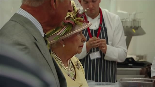 interior showing queen elizabeth and prince charles in industrial size kitchen royal pair listen as head chef talks on july 02 2014 in dumfries... - verwaltungsbehörde dumfries and galloway stock-videos und b-roll-filmmaterial