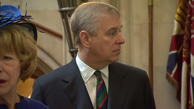 interior shows prince andrew duke of york on a tour of windsor castle - ヨーク公 アンドルー王子点の映像素材/bロール